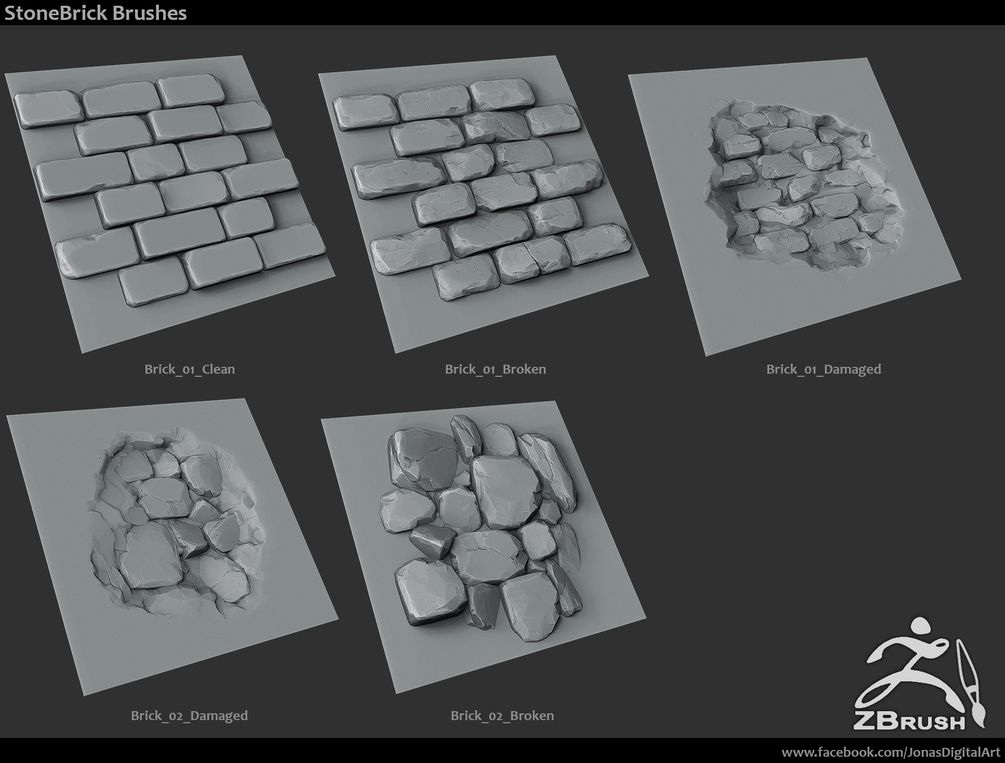 Zbrush - SP - 18 Rock Brushes + 3 Ztool Rocks + Mini Tutorial 2