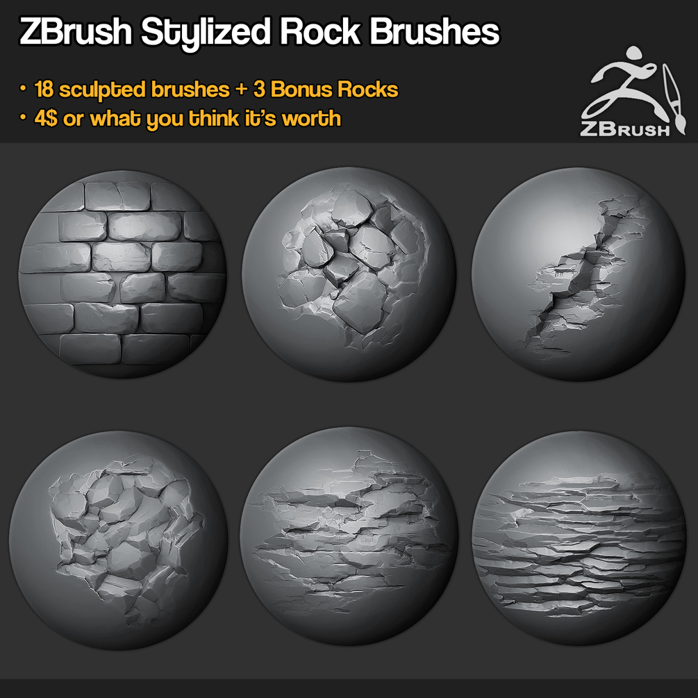 Zbrush - SP - 18 Rock Brushes + 3 Ztool Rocks + Mini Tutorial